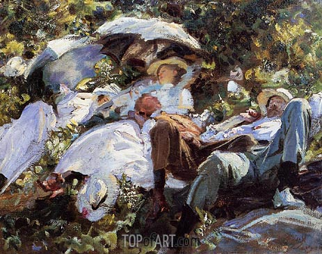 Group with Parasols (A Siesta), c.1908/11 | Sargent | Gemälde Reproduktion