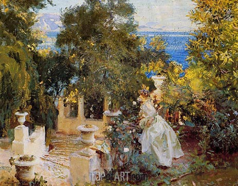 A Garden in Corfu, 1909 | Sargent | Painting Reproduction