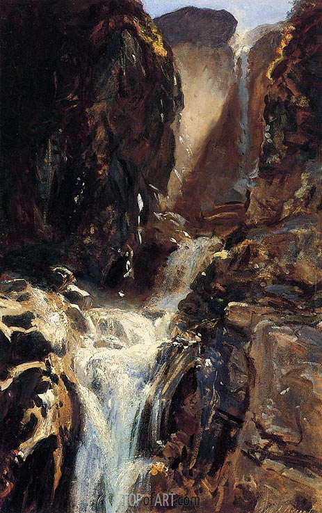A Waterfall, c.1910 | Sargent | Gemälde Reproduktion