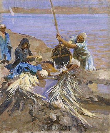 Egyptians Raising Water from the Nile, c.1890/91 | Sargent | Gemälde Reproduktion
