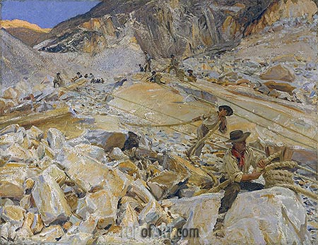 Bringing Down Marble from the Quarries to Carrara, 1911 | Sargent | Gemälde Reproduktion