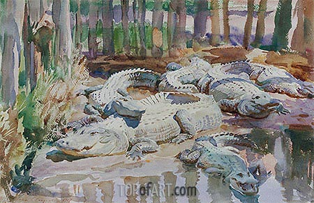 Muddy Alligators, 1917 | Sargent | Gemälde Reproduktion