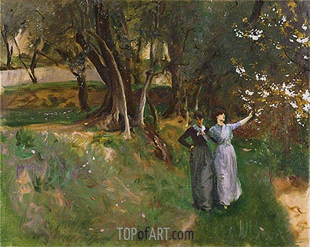 Landscape with Women in Foreground, c.1883 | Sargent | Painting Reproduction