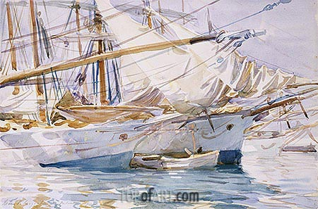 Yachts at Anchor, Palma de Majorca, 1912 | Sargent | Painting Reproduction