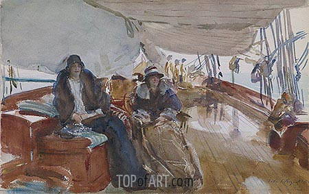 Rainy Day on the Yacht, 1924 | Sargent | Painting Reproduction