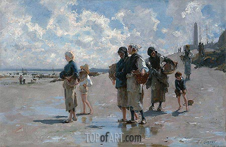 Fishing for Oysters at Cancale, 1878 | Sargent | Gemälde Reproduktion
