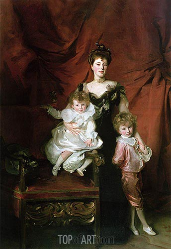 Mrs William Marshall Cazalet and Two of Her Children, 1900 | Sargent | Gemälde Reproduktion