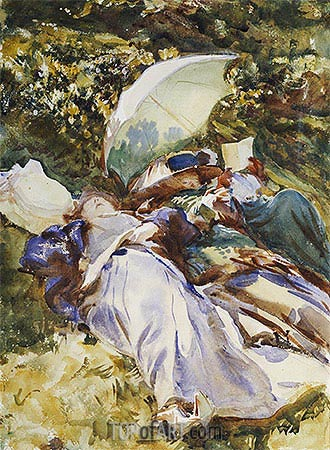 The Green Parasol, c.1910 | Sargent | Gemälde Reproduktion