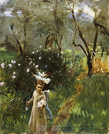 Gathering Flowers at Twilight, undated | Sargent | Gemälde Reproduktion