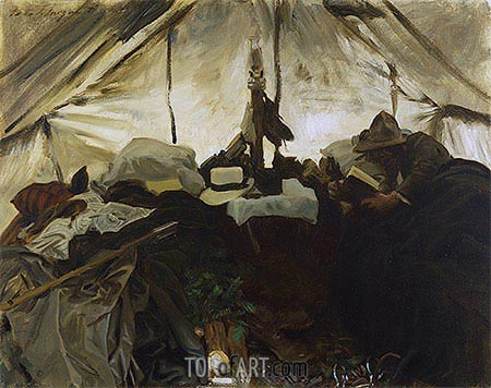 Inside a Tent in the Canadian Rockies, 1916 | Sargent | Painting Reproduction