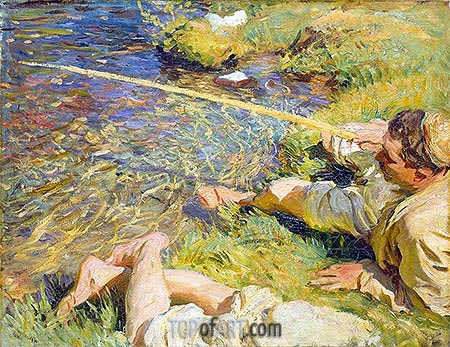 Val d'Aosta: A Man Fishing, c.1907 | Sargent | Painting Reproduction
