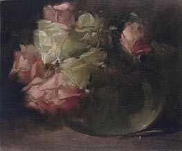 White and Pink Roses, c.1886 by John White Alexander | Painting Reproduction