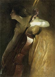 A Ray of Sunlight (The Cellist), 1898 by John White Alexander | Painting Reproduction
