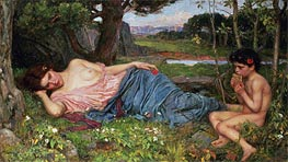 Listening to My Sweet Pipings | Waterhouse | Painting Reproduction