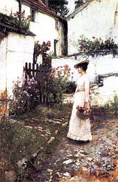 Gathering Flowers in a Devonshire Garden, c.1892/93 by Waterhouse | Painting Reproduction