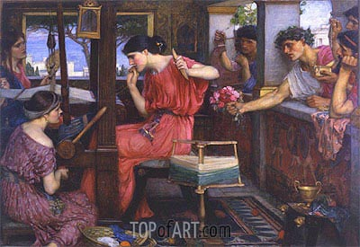 Penelope and the Suitors, 1912 | Waterhouse | Gemälde Reproduktion