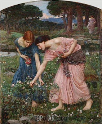 Gather ye Rosebuds while ye may, 1909 | Waterhouse | Painting Reproduction