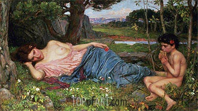 Listening to My Sweet Pipings, 1911 | Waterhouse | Painting Reproduction