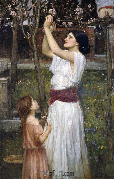 Gathering Almond Blossoms, 1916 | Waterhouse | Painting Reproduction