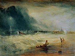 Life-Boat and Manby Apparatus Going Off to a Stranded Vessel Making Signal (Blue Lights) of Distress, c.1831 von J. M. W. Turner | Gemälde-Reproduktion