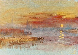 Sunset on Rouen, undated by J. M. W. Turner | Painting Reproduction