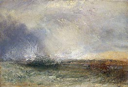 Stormy Sea Breaking on a Shore, undated by J. M. W. Turner | Painting Reproduction