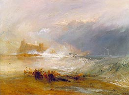 Wreckers, Coast of Northumberland with a Steam-Boat Assisting a Ship off Shore, undated by J. M. W. Turner | Painting Reproduction