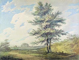 Landscape with Trees and Figures, c.1796 by J. M. W. Turner | Painting Reproduction