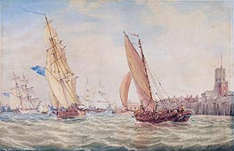 Three Sloops of War and a Fishing Smack going into Harbour, Portsmouth | J. M. W. Turner | Painting Reproduction