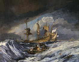 Boats Carrying Out Anchors to the Dutch Men of War | J. M. W. Turner | Gemälde Reproduktion