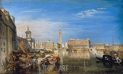 Bridge of Sighs, Ducal Palace and Custom House, Venice, 1833 | J. M. W. Turner | Painting Reproduction
