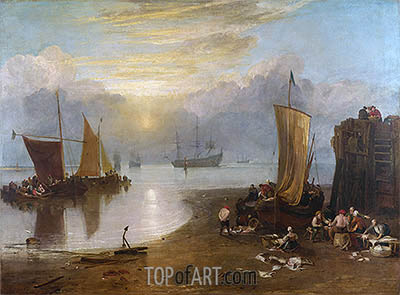 Sun Rising through Vapour: Fishermen Cleaning and Selling Fish, b.1807 | J. M. W. Turner | Painting Reproduction