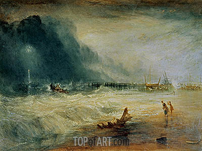 Life-Boat and Manby Apparatus Going Off to a Stranded Vessel Making Signal (Blue Lights) of Distress, c.1831 | J. M. W. Turner | Painting Reproduction