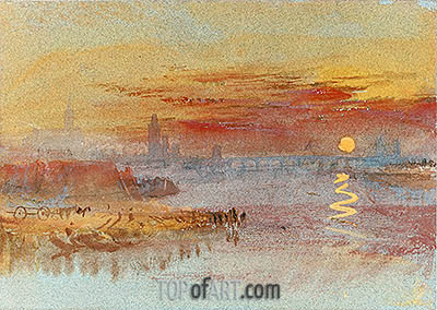 Sunset on Rouen, undated | J. M. W. Turner | Painting Reproduction