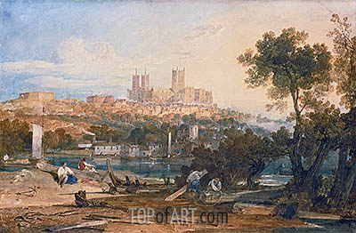 Lincoln Cathedral from the Holmes, Brayford, c.1802/03 | J. M. W. Turner | Gemälde Reproduktion