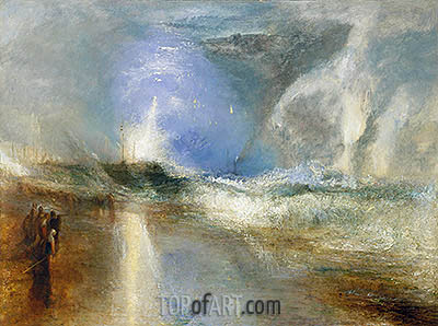 Rockets and Blue Lights (Close at Hand)   to Warn Steamboats of Shoal Water, 1840   J. M. W. Turner   Painting Reproduction