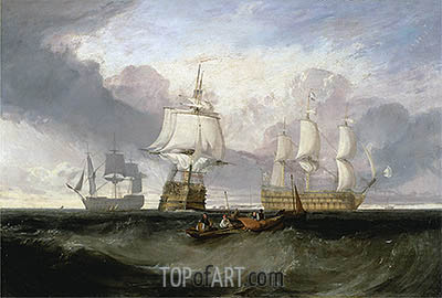 The Victory Returning from Trafalgar in Three Positions, undated   J. M. W. Turner   Painting Reproduction