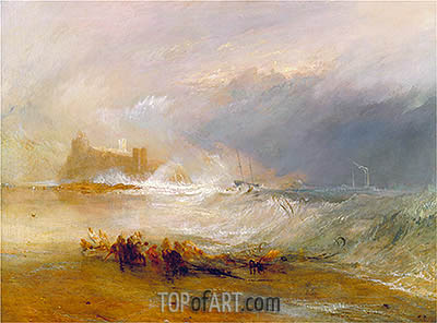 Wreckers, Coast of Northumberland with a Steam-Boat Assisting a Ship off Shore, undated | J. M. W. Turner | Painting Reproduction