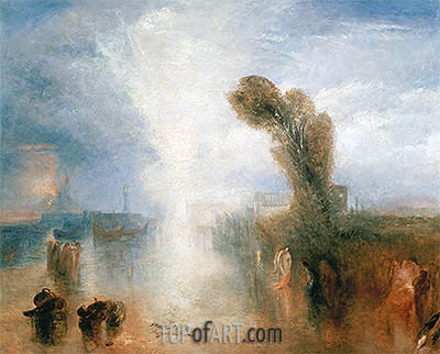 Neopolitan Fisher Girls, Surprised, Bathing by Moonlight, c.1840   J. M. W. Turner   Painting Reproduction