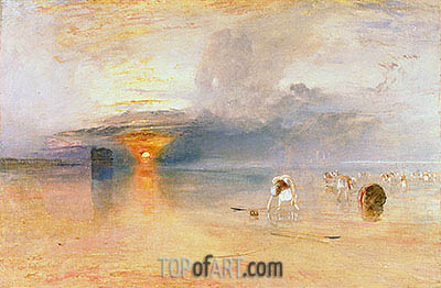 Calais Sands at Low Water, Poissards Gathering Bait, 1830 | J. M. W. Turner | Painting Reproduction