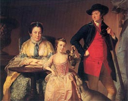 Portrait of James and Mary Shuttleworth with one of their Daughters | Wright of Derby | Gemälde Reproduktion