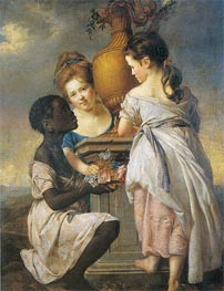 A Conversation of Girls (Two Girls with their Black Servant), 1770 by Wright of Derby | Painting Reproduction