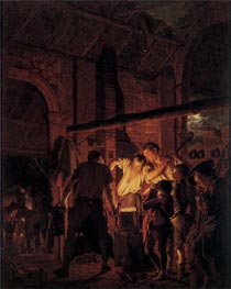 A Blacksmith's Shop, 1771 by Wright of Derby | Painting Reproduction