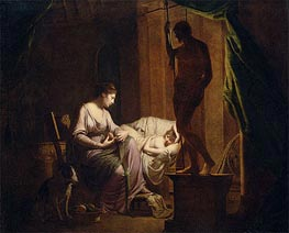 Penelope Unraveling Her Web by Lamp Light, 1785 von Wright of Derby | Gemälde-Reproduktion