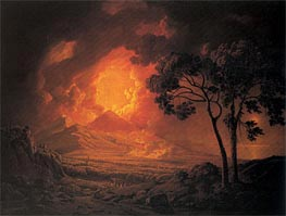 An Eruption of Mout Vesuvius with the Procession of St Januarius's Head, 1778 von Wright of Derby | Gemälde-Reproduktion