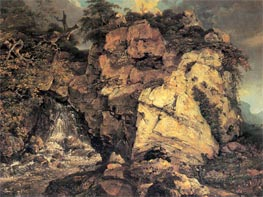 Rocks with Waterfall, c.1772 von Wright of Derby | Gemälde-Reproduktion