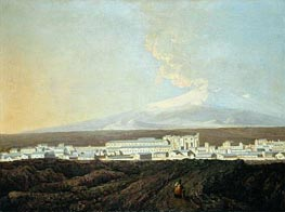A View of Catania with Mount Etna in the Distance, c.1775 von Wright of Derby | Gemälde-Reproduktion