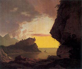 Sunset on the Coast near Naples, c.1785/90 von Wright of Derby | Gemälde-Reproduktion