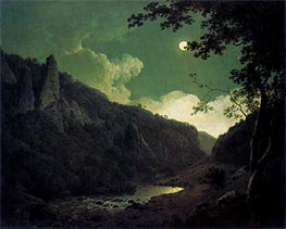 Dovedale by Moonlight, 1785 von Wright of Derby | Gemälde-Reproduktion