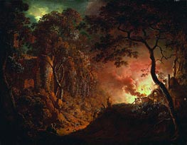 Cottage on Fire, c.1787 by Wright of Derby | Painting Reproduction